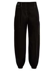 Christophe Lemaire Contrasting Stitch Tapered Wool Trousers Black