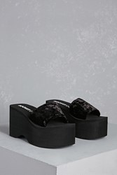 Forever 21 Rocket Dog Velvet Platform Sandals Black Black