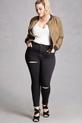 Forever 21 Plus Size Mid Rise Skinny Jeans Black