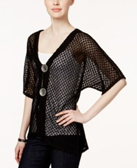 Jm Collection Short Sleeve Open Knit Cardigan Only At Macy's Deep Black