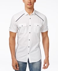 Inc International Concepts Men's Empire Ripstop Short Sleeve Shirt Only At Macy's White Pure