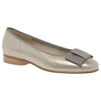 Gabor Assist Bow Ballet Pumps Gold