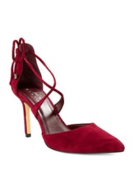 424 Fifth Bailee Suede Point Toe Lace Up Pumps Ruby Red