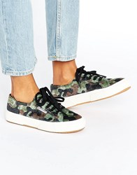 Superga Classic Plimsoll Trainers In Camo Print Multicolour