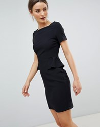 Zibi London Capped Sleeve Pencil Dress With Pocket Detail Black