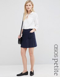 Asos Petite A Line Linen Skirt With Pocket Detail Navy