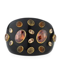 Ashley Pittman Dola Dark Horn Cuff Bracelet Brown Orange