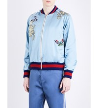 Gucci Appliqua D And Embroidered Silk Satin Jacket Blue