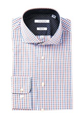 Isaac Mizrahi Navy And Orange Mini Plaid Long Sleeve Slim Fit Dress Shirt Blue