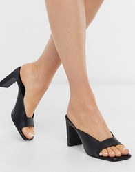 New Look Leather Slim Block Heel Mules Black