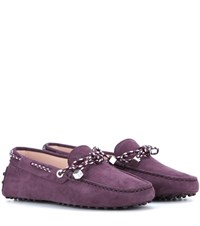 Tod's Heaven Laccetto Scooby Doo Suede Loafers Purple