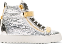 Giuseppe Zanotti Silver Foil Crinkled Leather High Top Sneakers