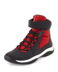 Prada America's Cup Men's High Top Sneaker Black Red Nero Rosso