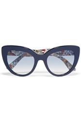 Dolce And Gabbana Escape Cat Eye Acetate Sunglasses Navy