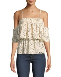 Bishop Young Lilly Tiered Floral Cold Shoulder Blouse White Pattern