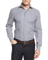Ermenegildo Zegna Grid Check Long Sleeve Sport Shirt Blue Pattern