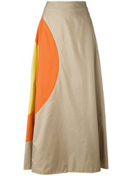 Jc De Castelbajac Vintage Bulls Eye A Line Skirt Nude And Neutrals