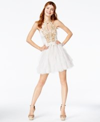 Teeze Me Juniors' Embroidered Tulle Fit And Flare Dress Ivory Gold