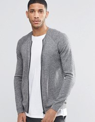 Asos Knitted Bomber In Merino Wool Mix Charc And Silver Grey