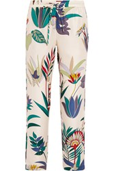 Tory Burch Adele Printed Silk Twill Tapered Pants White