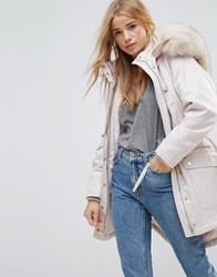 Miss Selfridge Faux Fur Collar Luxe Longline Parka Multi