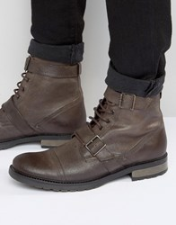 Asos Lace Up Boots With Military Strap Detail In Brown Leather Brown
