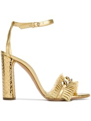 Casadei Chain Trimmed Sandals Metallic