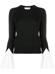 Alexander Mcqueen Two Tone Knitted Jumper Black