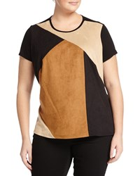 Vince Camuto Plus Colorblock Faux Leather Tee Rich Black
