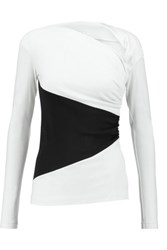 Vionnet Two Tone Wool Jersey Top Ivory