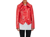 Ji Oh Women's Faux Leather Rider Jacket Red Orange