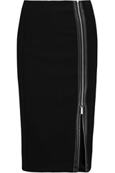 Michael Michael Kors Faux Leather Trimmed Stretch Cady Pencil Skirt Black