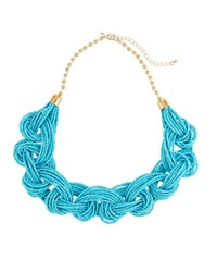 Romeo And Juliet Couture Braided Seed Bead Necklace Blue