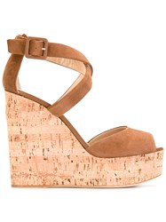 Giuseppe Zanotti Design Platform Wedge Sandals Brown