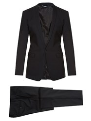 Dolce And Gabbana Gold Fit Embroidered Stretch Wool Suit Black