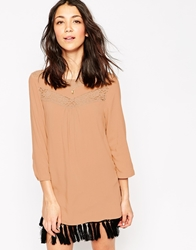 Vero Moda 3 4 Sleeve Tunic With Lace Detail Mahoganyrose
