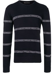 Versace Logo Stripe Jumper Blue