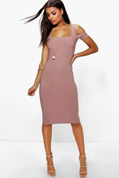 Boohoo Crepe Square Neck Midi Dress Mocha