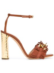 Casadei Frayed Block Heel Sandals Brown