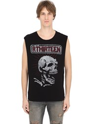 R 13 Skull Cotton Jersey Sleeveless T Shirt