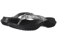 Crocs Capri Sequin Sandal Silver Black Women's Sandals Gray