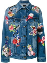 Saint Laurent Floral Patchwork Denim Jacket Women Cotton L Blue