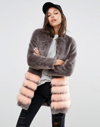Unreal Fur Tundra Faux Coat With Stripe Grey