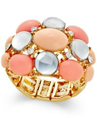 Inc International Concepts Gold Tone Pink Bead Bubble Stretch Ring Only At Macy's