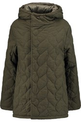 Maje Reversible Quilted Brushed Twill Coat Army Green