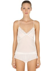 Chantal Thomass Plumetis Jersey And Tulle Top White