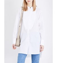 Rag And Bone Longline Cotton Tuxedo Shirt Bright White
