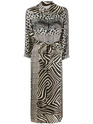 Pierre Louis Mascia Mixed Animal Print Dress Black