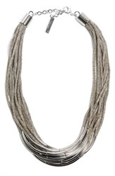 Lafayette 148 New York Multistrand Statement Necklace Cement
