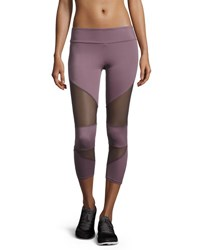 Onzie Cutout Capri Sport Leggings With Mesh Insets Light Purple